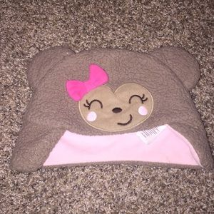 Hat Brown pink bow heart shaped face